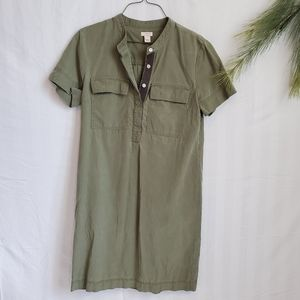J. Crew Tunic Army Green 2 Pocket Button-up Size 4